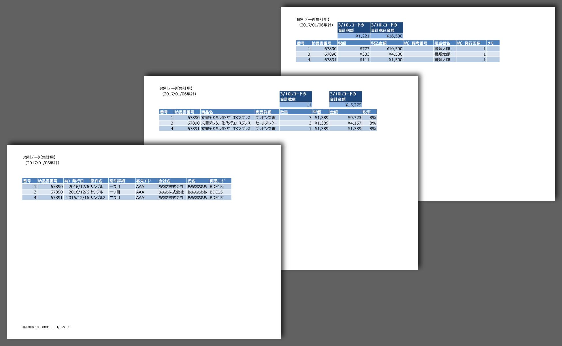 集計表のPDF化は、ワンクリックです。